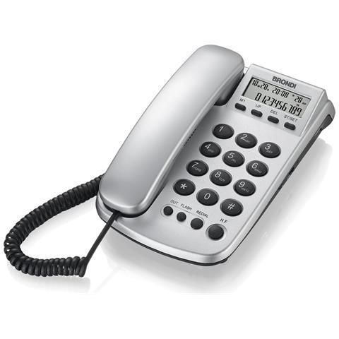 BRONDI Telefono Office Silver Id Chiamate Vivavoce Display Colore Silver