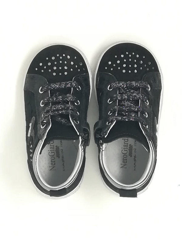 Baby Sneaker Camoscio/Pizzo - NERO GIARDINI Kids & Teens