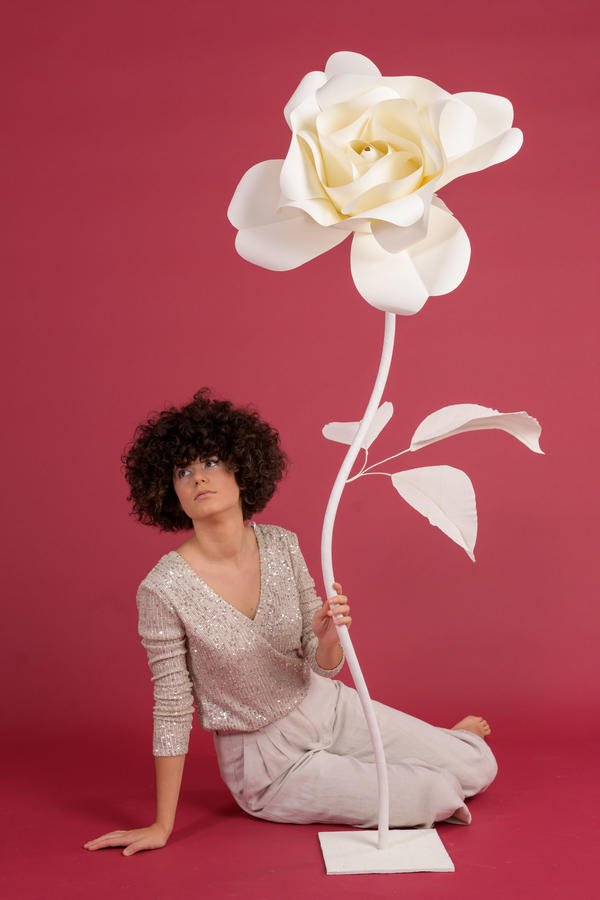Paper Flowers Self-standing Collection - Rosa in carta 50 cm autoportante