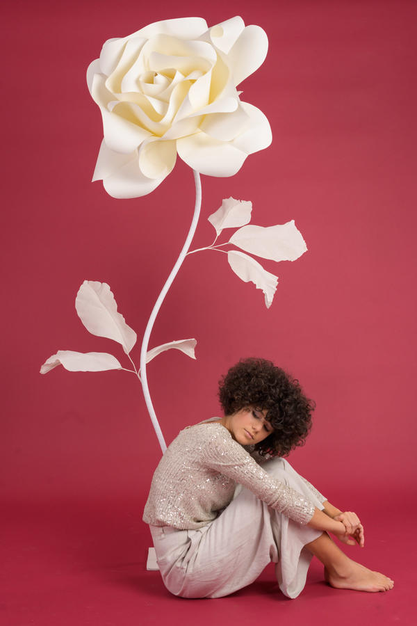 Paper Flowers Self-standing Collection - Rosa in carta 70 cm autoportante