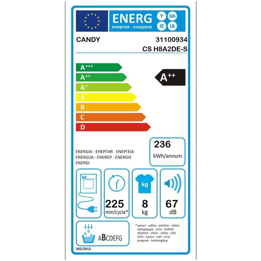 CANDY Asciugatrice CS H8A2DE-S, 8 Kg Classe A++ Pompa di calore