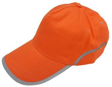 Berretto in cotone arancio fluo con nastro rinfrangente