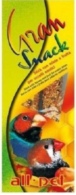 All Pet Gran Snack Stick con miele e frutta per uccelli esotici - 60 gr.