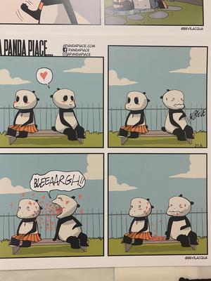 A PANDA PIACE, MINI PRINT cm20x20: BLEEAARGH!! (CUORICINI)