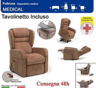 Poltrona Relax Medical Pediera estensibile  Kit Roller e Tavolinetto estraibile in Tessuto Idrorepellente Marrone Tortora CONSEGNA 48/72 Ore