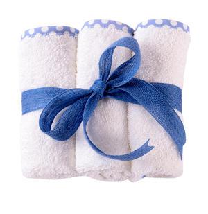 Lavette in spugna per bambini e neonati  30x30 cm bianco bordo azzurro a pois 3 pezzi