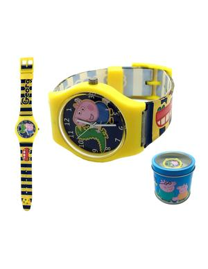 Peppa pig orologio analogico in scatola giallo