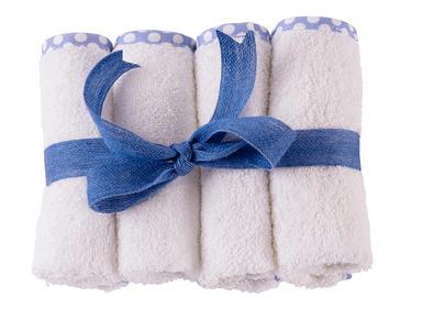 Lavette in spugna per bambini e neonati 30x30 cm  colore bianco bordo azzurro a pois 4 Pezzi