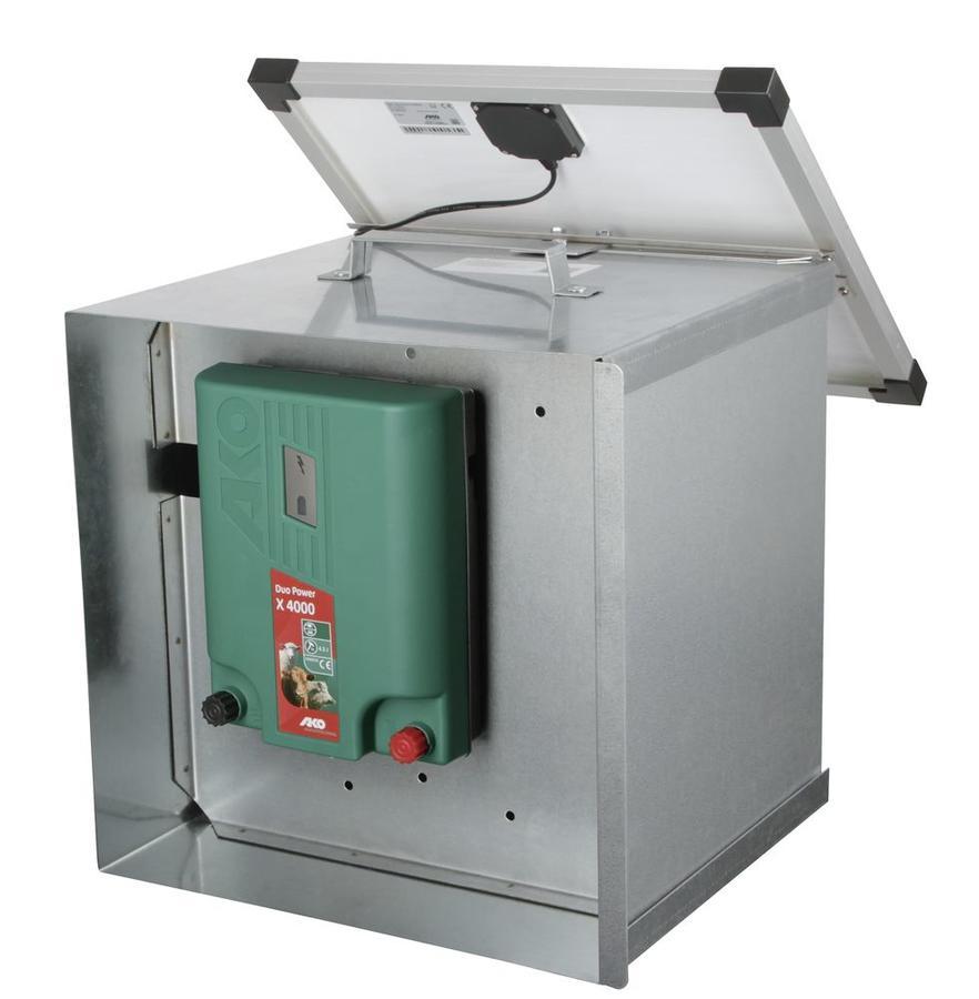 Contenitore di sicurezza e porta batteria per elettrificatori, in metallo zincato