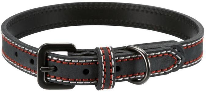 Trixie Native Grigio Antracite L Collare In Pelle Per Cani Regolabile 47-54 cm