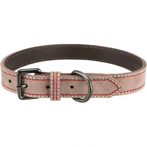 Trixie Native Grigio Tortora XL Collare In Pelle Per Cani Regolabile 52-61 cm