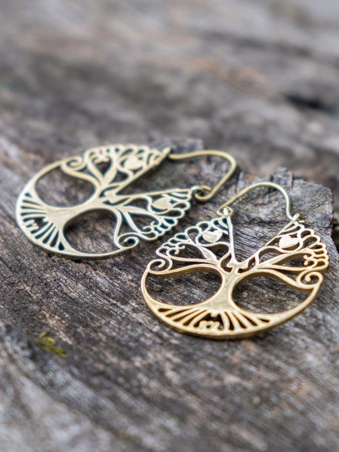 Round brass earrings with Tree of Life