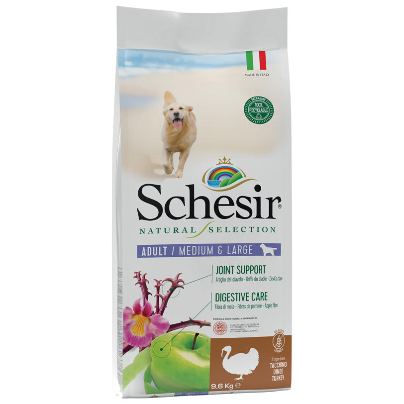 Schesir Natural Selection Adult Medium Large Tacchino 2 KG Per Cani Grain Free