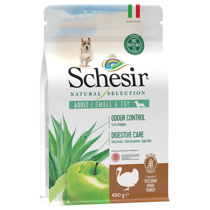 Schesir Natural Selection Adult Small e Toy Tacchino 2 KG Per Cani Grain Free