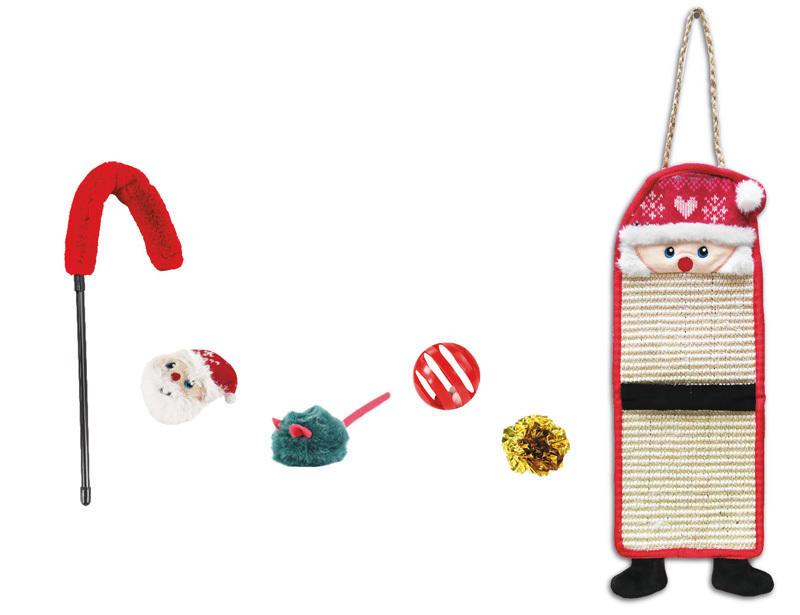 Cofanetto Regalo di Natale per Gatti  Tiragraffi  Pallina Sonaglio Peluche Cannetta