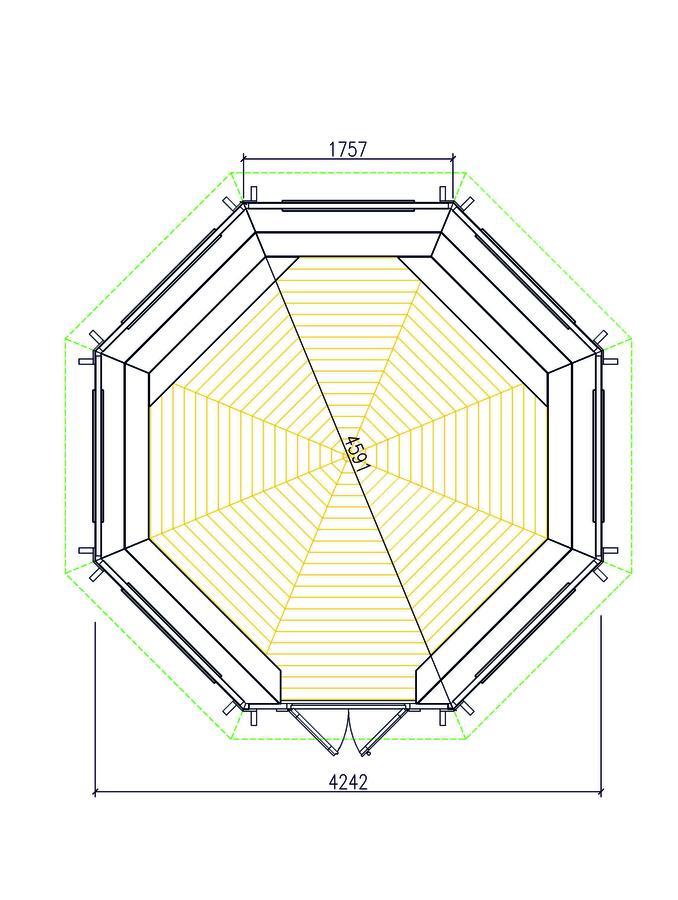 Padiglione Ottagonale in pino nordico Mod. Kari 15 – Spess. 45mm - Grill e Camino Incluso