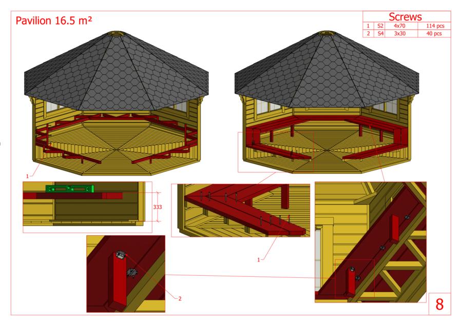 Padiglione Ottagonale in pino nordico Mod. Freja 16,5 – Spess. 45mm - Grill e Camino Incluso