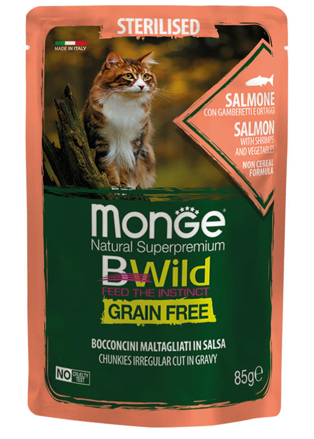 Gatto - Sterilised Salmone Bwild Monge Disponibile nei formati 85 - 100 gr