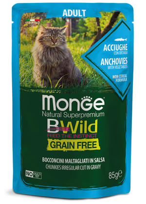 Gatto - Adult Acciughe Bwild Monge Disponibile nei formati 85 - 100 gr