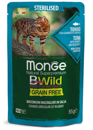 Gatto - Sterilised Tonno Bwild Monge Disponibile nei formati 85 - 100 gr