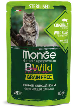 Gatto - Sterilised Cinghiale Bwild Monge Disponibile nei formati 85 - 100 gr