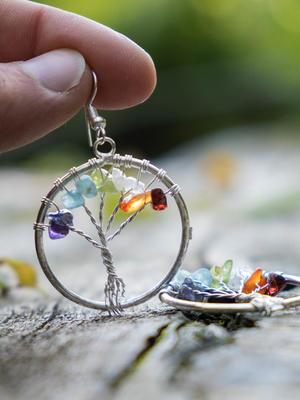 Orecchini pendenti argento albero della vita con pietre naturali