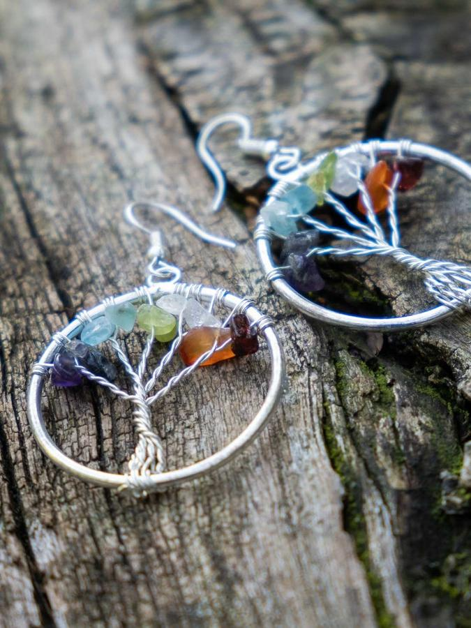 Silver-plated earrings with Tree of Life and natural stones
