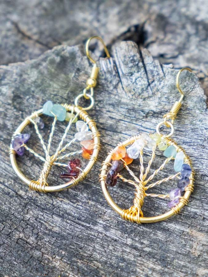 Gold-colored earrings with Tree of Life and natural stones