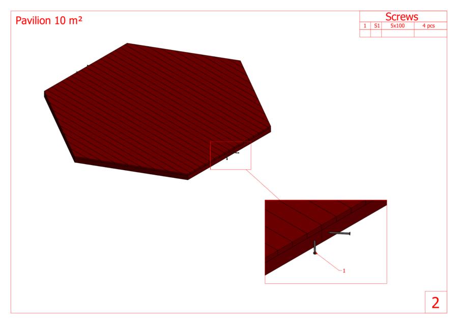 Padiglione  Ottagonale in pino nordico Mod. Hedda 10  - 45 mm