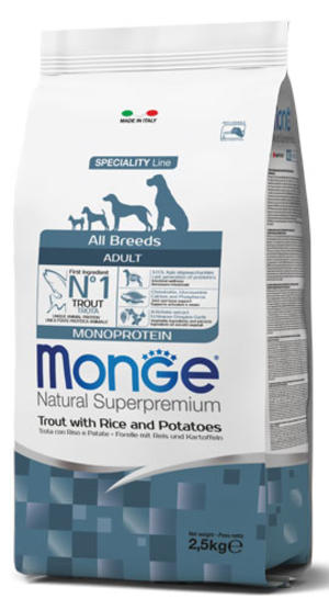 Cane - All Breeds Adult Trota Monge Disponibile nei formati 2,5 - 12 Kg