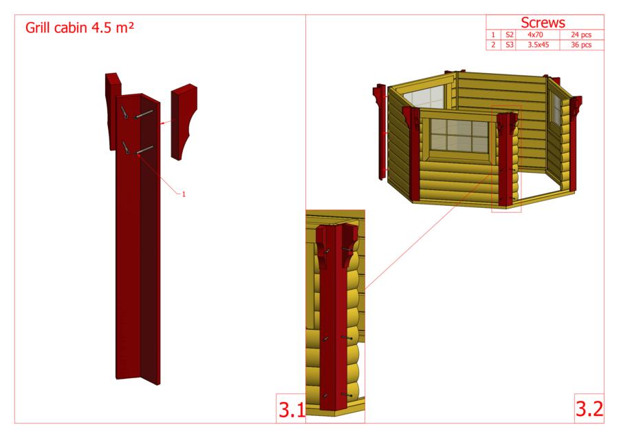 Grill Kota esagonale con Grill e Camino Mod. Rali 4,5 - 45 mm