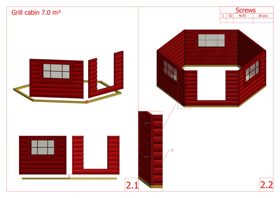 Grill Kota esagonale con Grill e Camino Mod. Salli 7 - 45 mm