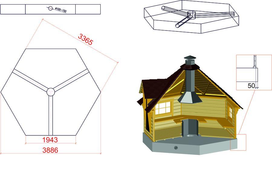 Grill Kota esagonale con Grill e Camino Mod. Mirja 9 - 45 mm