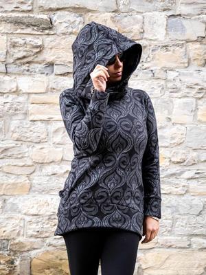 Sudadera larga Archita con capucha para mujer - negro y gris
