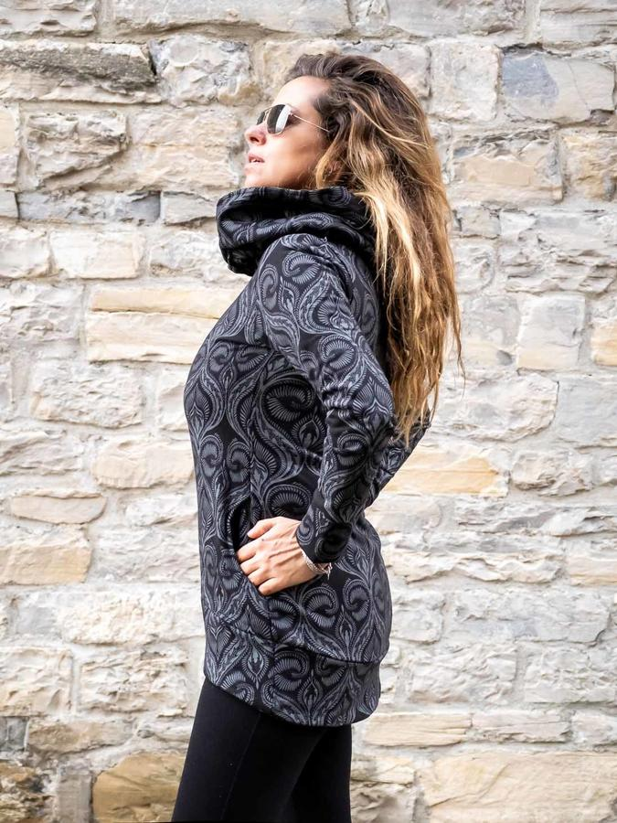 Long woman hooded sweatshirt Archita - black & gray
