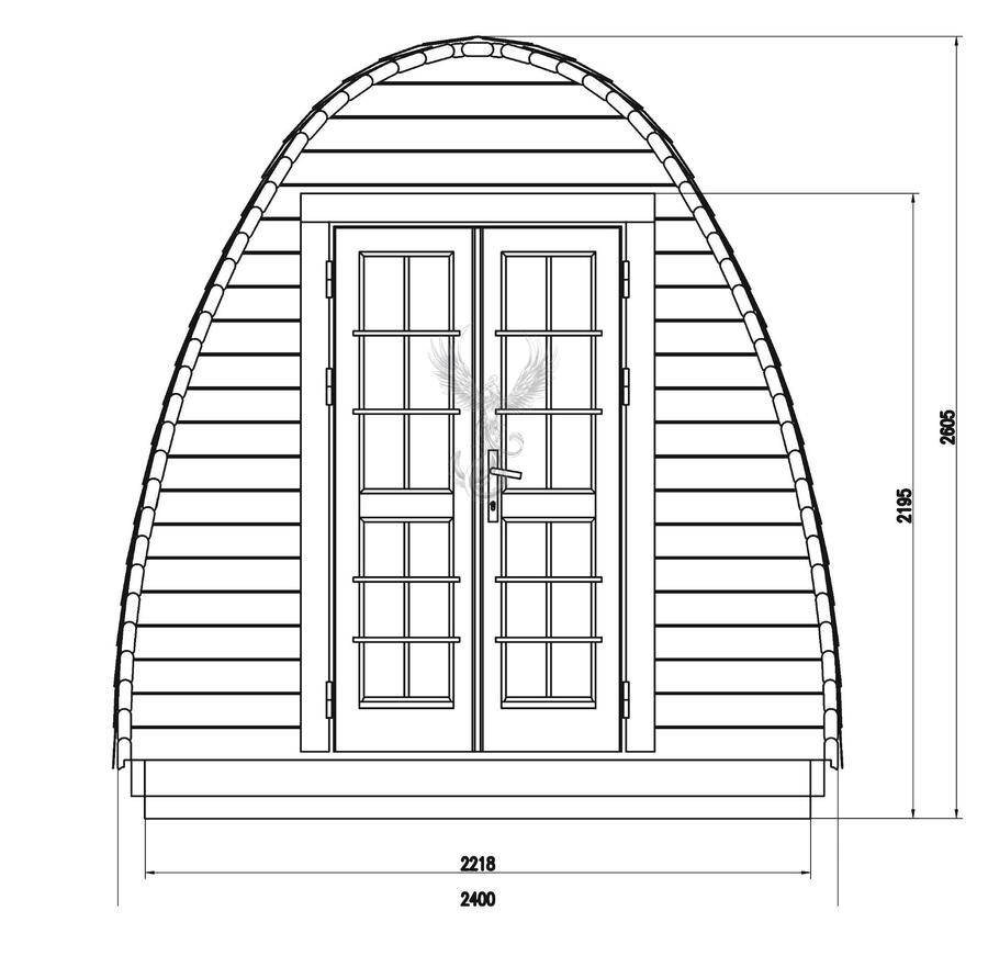 Glamping Pod  in legno di pino nordico Mod. Vera 2,40 x 3,00 - 46mm