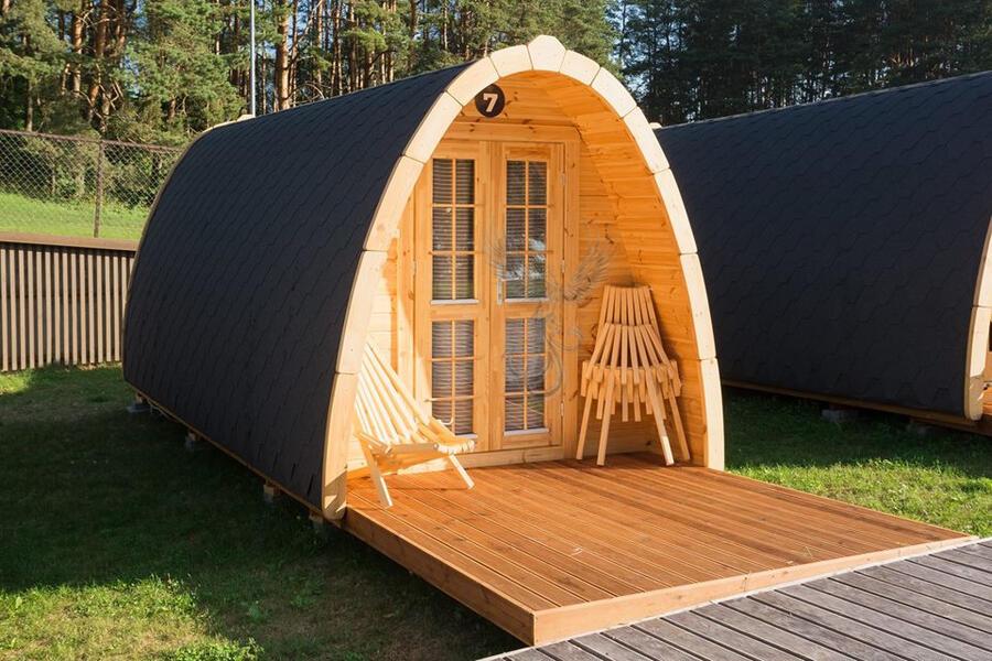 Glamping Pod  in legno di pino nordico con bagno Mod. Hanna 3,25 x 4,80 – Coibentato - 126mm