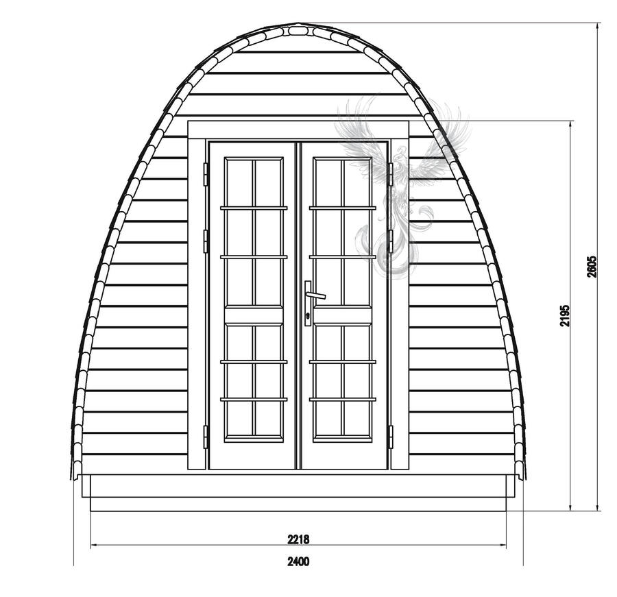 Glamping Pod in Thermowood di pino nordico Mod. Klara 2,40 x 3,50 - 46mm