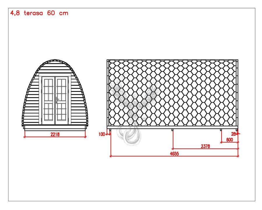 Glamping Pod in Thermowood di pino nordico Mod. Agnes 2,40 x 4,80 - 46mm