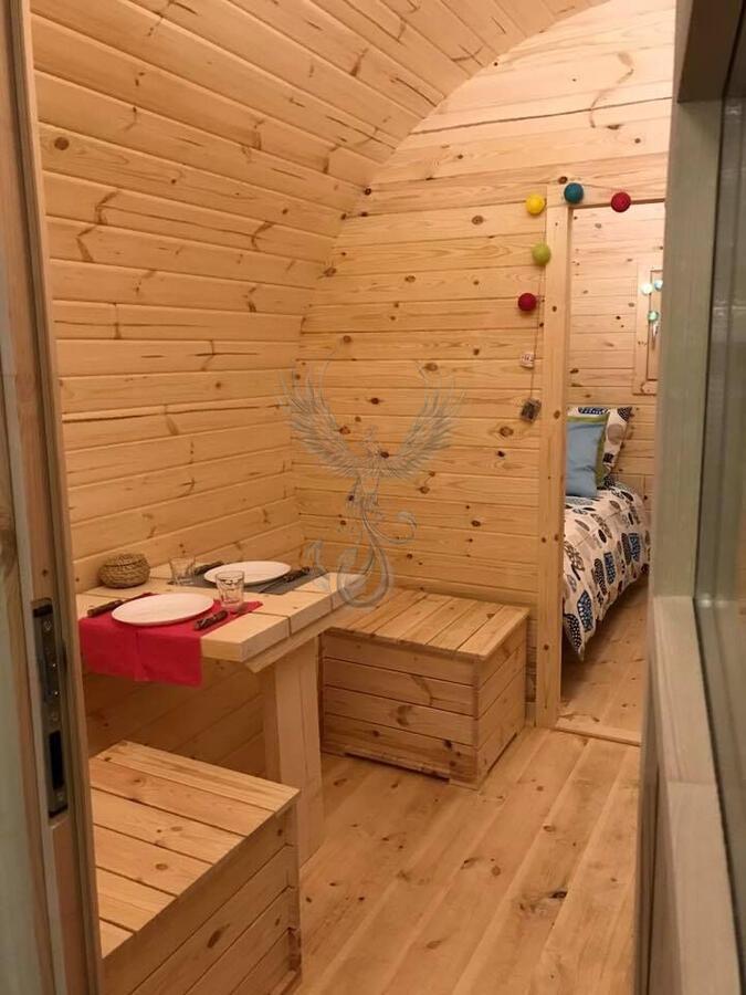 Glamping Barile in legno di pino nordico Mod. Inez 3,00 x 4,80 - 46mm – Letto matrimoniale incluso