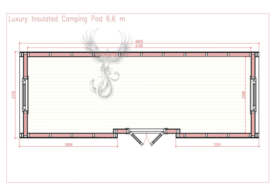Glamping Pod Side Entry coibentato Mod. Emmy 2,40 x 6,60 - 126mm