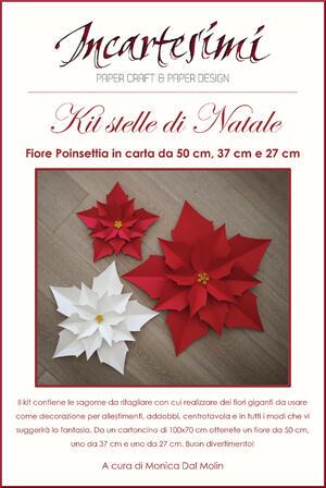 """KIT fai da te fiore gigante di carta """"Poinsettia"""" Ø 50-37-27cm"""