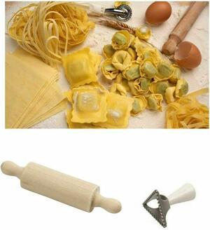Mini Mattarello Legno Rullo Pasta Fresca Pizza Impasto con Stampo Formina Pasta