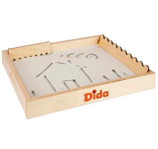 Lavagna Montessoriana di Sabbia per scrivere e disegnare in Legno Naturale per Bambini di Dida