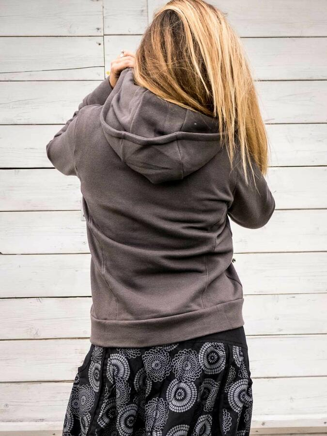 Women's sweatshirt Tushar asymmetrical zip collar and hood - grey