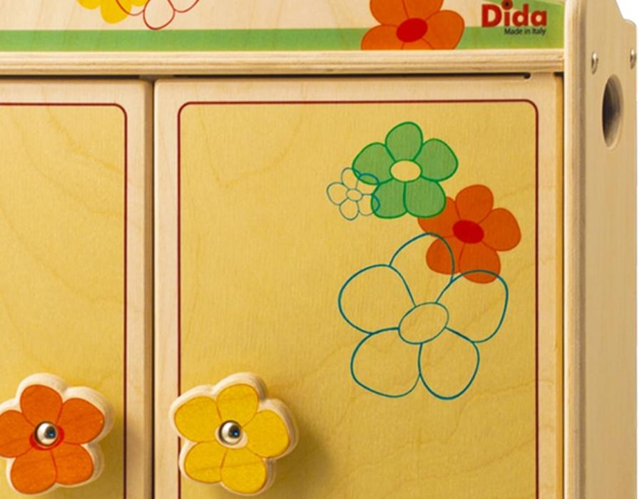 Armadietto Fiore per Bambole in Legno Naturale Decorato per Bambini di Dida
