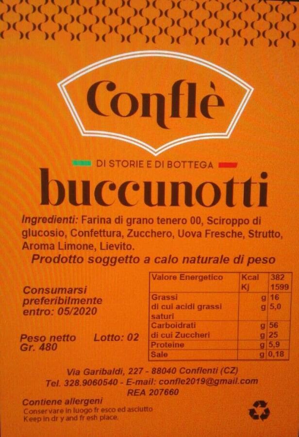 Buccunotti [Bocconotti ] con mostarda d'uva, Conflé, 350 gr
