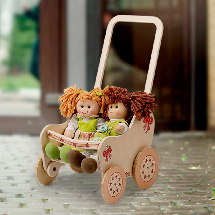 Passeggino Fiocco per Bambole in Legno Naturale Decorato per Bambini di Dida