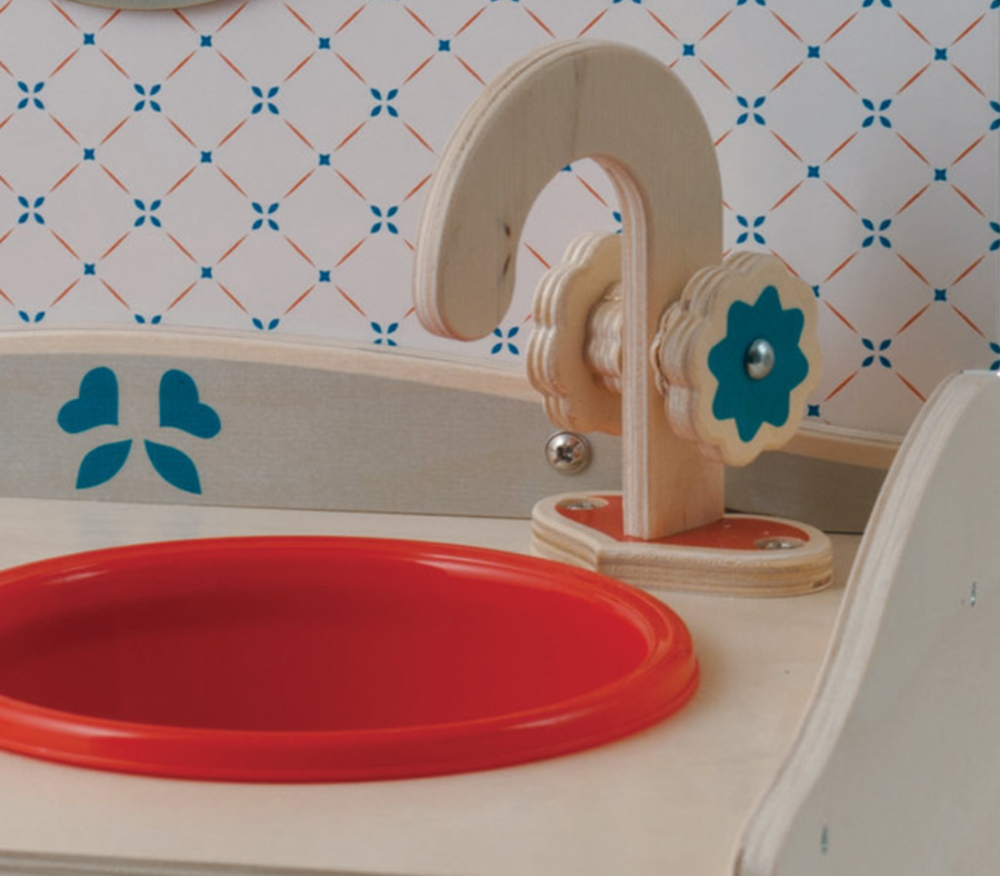 Minicucina Compatta Azzurra in Legno Naturale per Bambini di Dida - Offerta