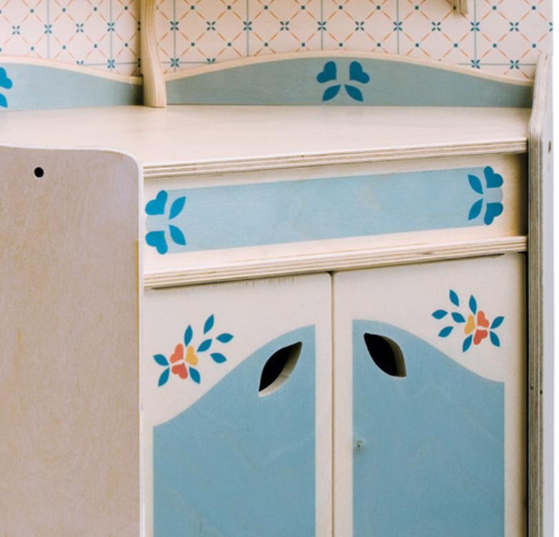 Mobiletto Angolo Cucina Giocattolo in Legno di Betulla Finemente Decorato di Dida